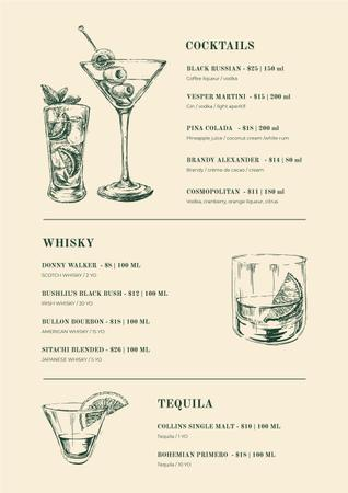 Ontwerpsjabloon van Menu van Bar Cocktails sketches