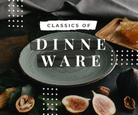 Plantilla de diseño de Dinnerware Sale Raw Figs and Nuts by Plate Medium Rectangle