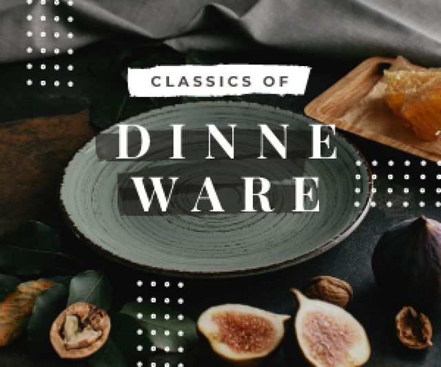 Template di design Dinnerware Sale Raw Figs and Nuts by Plate Medium Rectangle