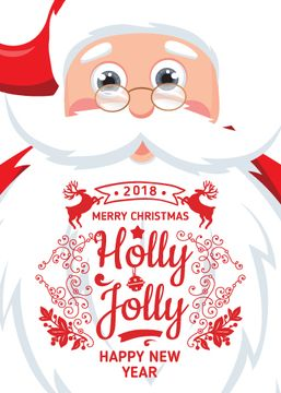 Holly Jolly Greeting with Santa Claus | Flyer Template