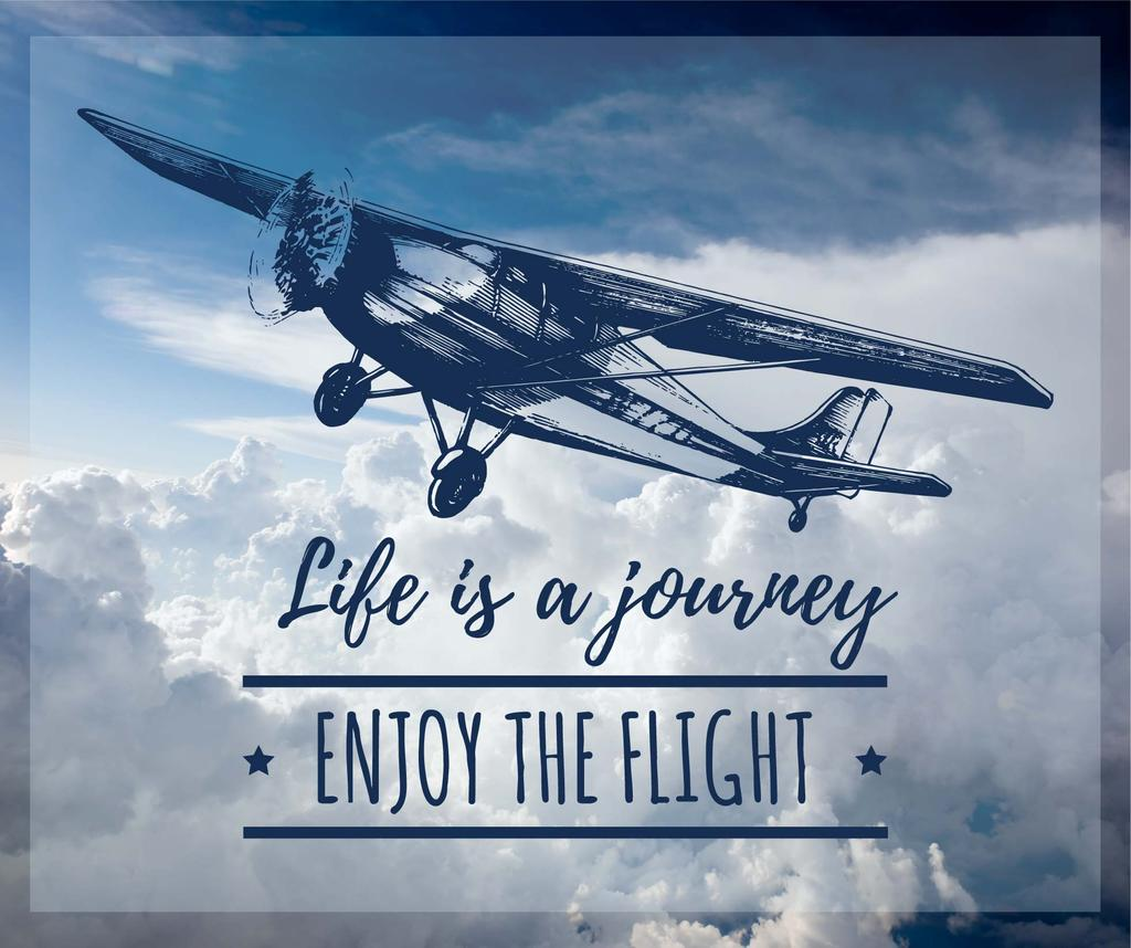 Motivational Quote Plane Flying in Sky | Facebook Post Template — Modelo de projeto