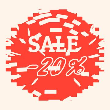 Sale Announcement with Breaking Hole in Tiles Wall