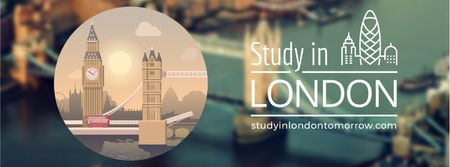 Travelling and Studing in London Facebook Video cover Modelo de Design