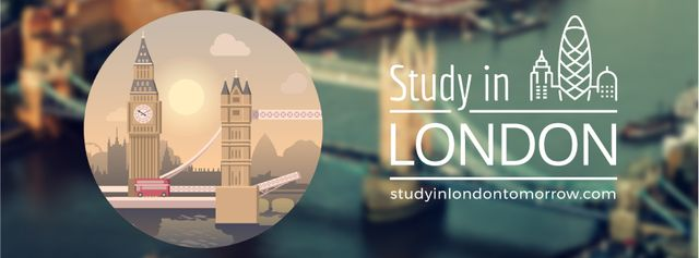 Designvorlage Travelling and Studing in London für Facebook Video cover