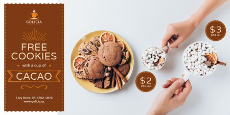Cafe Promotion with Cocoa and Cookies Twitter Modelo de Design