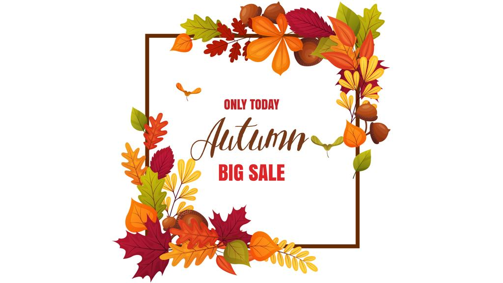 Autumn Sale Announcement in Leaves Frame — Modelo de projeto