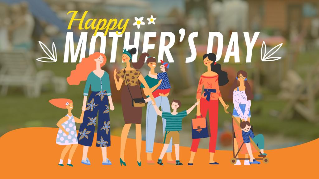 Diverse mothers with their kids on Mother's Day — Создать дизайн