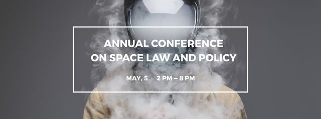 Space Conference Announcement Man in Spacesuit Surrounded by Smoke Facebook Video cover Modelo de Design