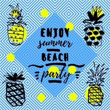 Summer beach party invitation with Pineapples