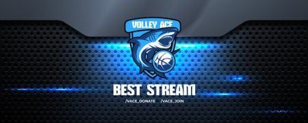 Template di design Volleyball Match announcement with Shark Twitch Profile Banner
