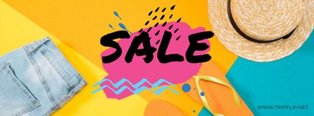 Plantilla de diseño de Bright Sale Offer with summer Clothes Facebook cover