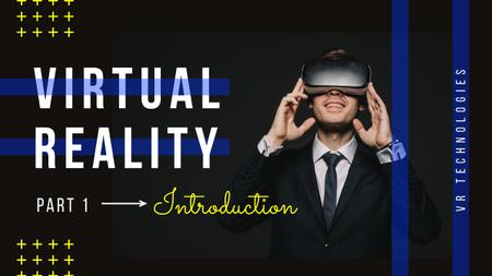 Virtual Reality Guide Man in VR Glasses Youtube Thumbnailデザインテンプレート