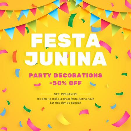 Ontwerpsjabloon van Instagram AD van Festa Junina party decorations sale