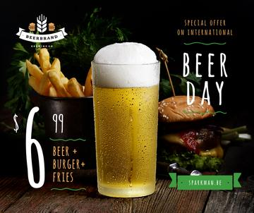 Beer Day Offer Glass and Snacks on Table | Facebook Post Template