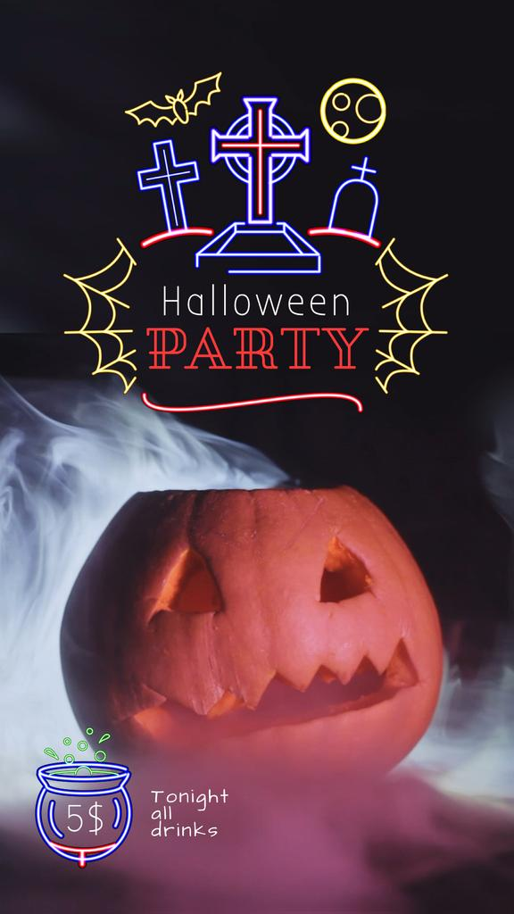 Halloween Party Invitation Scary Pumpkin in Smoke —デザインを作成する