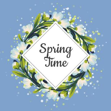 Spring Flowers Rotating Circle Wreath | Square Video Template