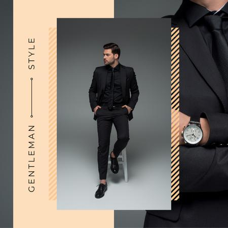 Handsome man wearing Suit and Watch Instagram AD – шаблон для дизайна