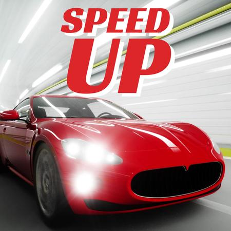 Red sports car driving fast Animated Post Modelo de Design