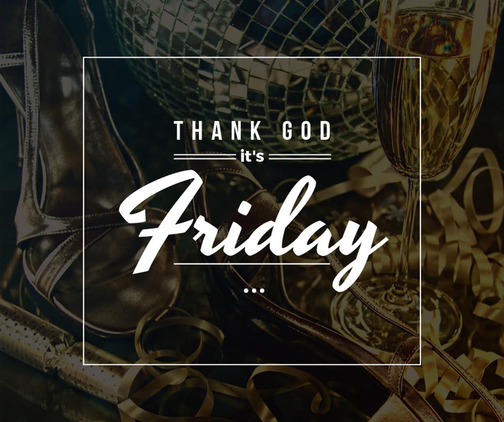 Weekend Celebration Golden Shoes and Disco Ball | Facebook Post Template — Створити дизайн