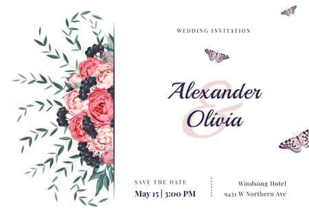 Wedding Invitation Frame with Colorful Flowers Card Design Template