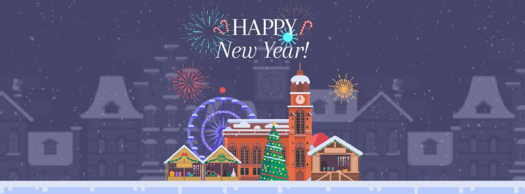 Fireworks over town on New Year's Eve — Create a Design