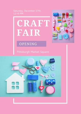 Plantilla de diseño de Craft fair Ad on Pink Poster