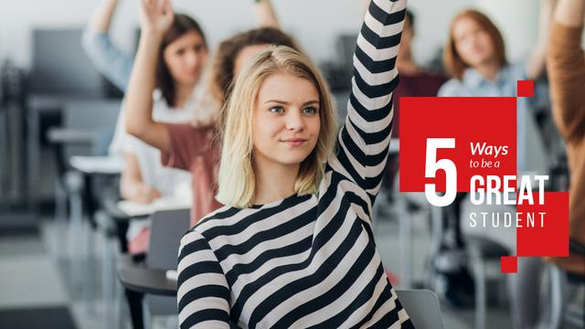 Students rising hands in Classroom Presentation Wide Modelo de Design
