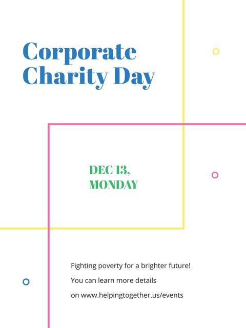 Corporate Charity Day on simple lines Poster US Design Template