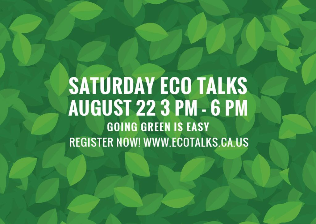 Saturday eco talks  — Создать дизайн
