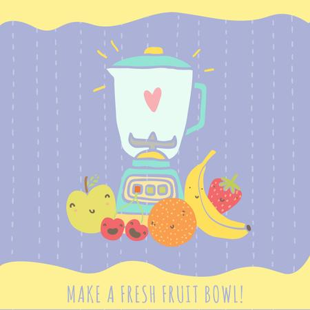 Fresh fruits illustration Instagram – шаблон для дизайну