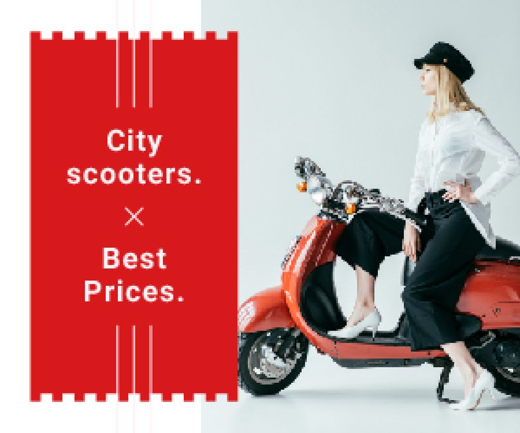 Stylish girl on retro scooter — Create a Design