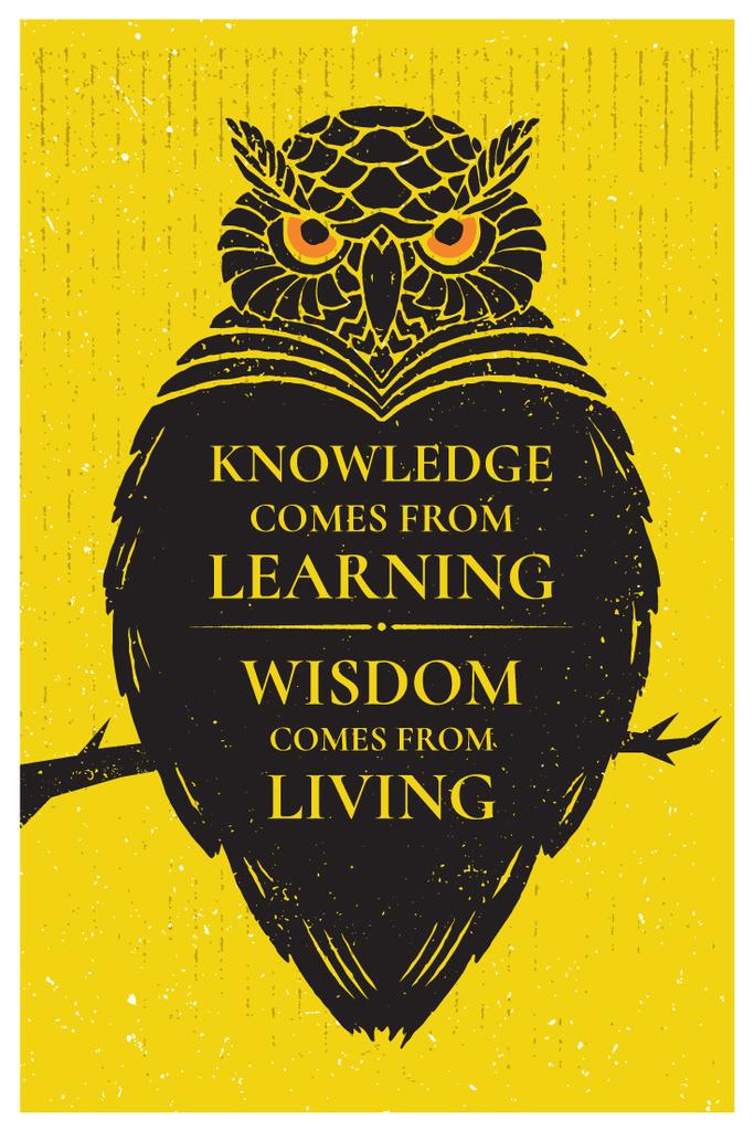 Knowledge quote with owl Pinterest – шаблон для дизайну
