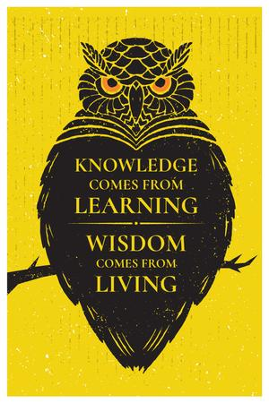 Modèle de visuel Knowledge quote with owl - Pinterest