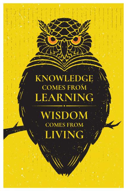 Plantilla de diseño de Knowledge quote with owl Pinterest