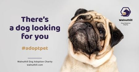 Plantilla de diseño de Pet Adoption Ad Cute Pug Dog Facebook AD