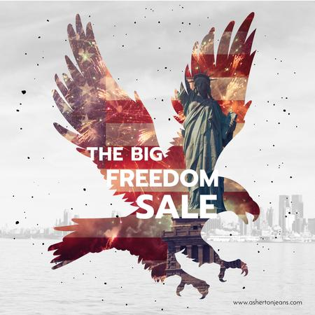 Modèle de visuel Independence Day celebration with eagle and flag - Instagram AD