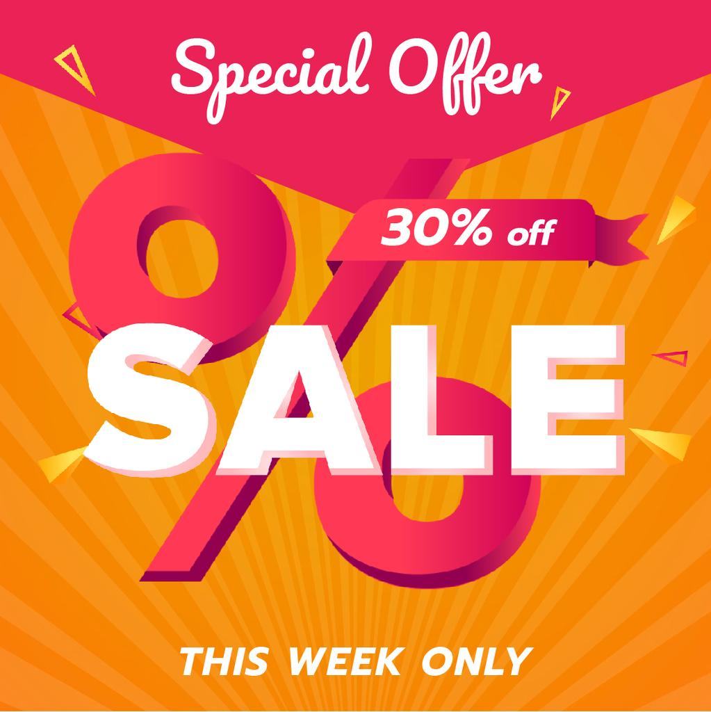 Special Offer Sale with Percent Sign in Pink — Maak een ontwerp