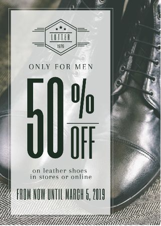 Szablon projektu Fashion Sale Stylish Male Shoes Invitation