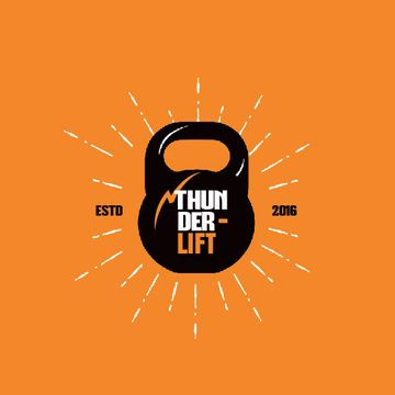 Sport Club Ad with Kettlebell Icon