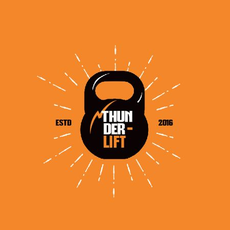 Sport Club Ad with Kettlebell Icon Animated Logo Modelo de Design