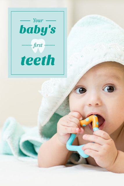 Baby Playing with Teether in Blue Tumblr Modelo de Design