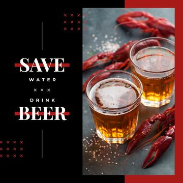 Glasses with beer and boiled crayfish