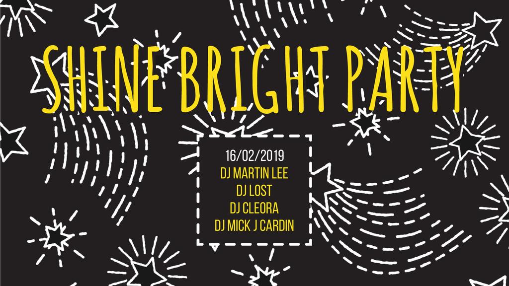 Party Invitation Stars Shining on Black — ein Design erstellen