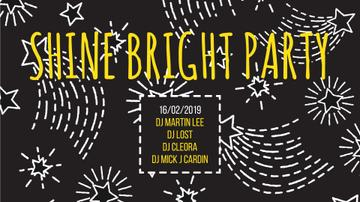 Party Invitation Stars Shining on Black