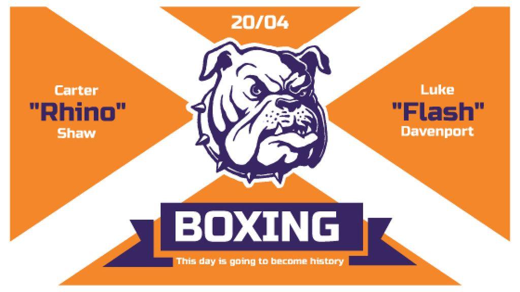 Boxing Match Announcement Bulldog on Orange — Crear un diseño