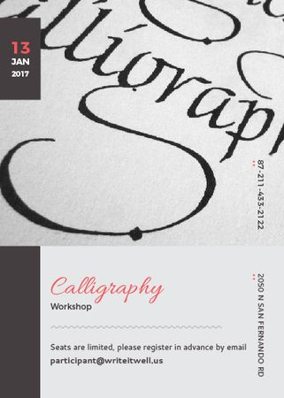 Plantilla de diseño de Calligraphy Workshop Announcement Decorative Letters Invitation