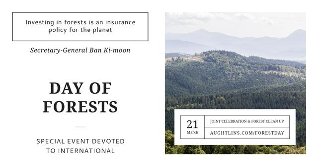 Ontwerpsjabloon van Facebook AD van International Day of Forests with Mountain View