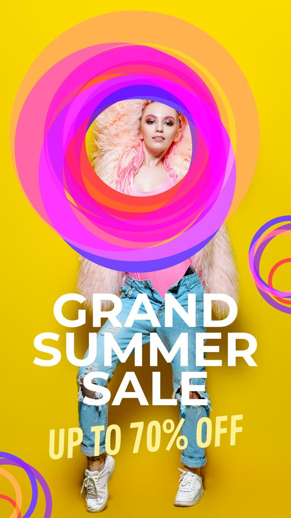 Clothes Sale Stylish Young Girl Bright Circles | Vertical Video Template — ein Design erstellen