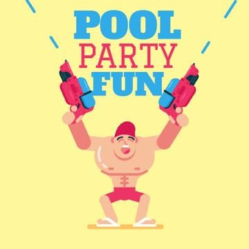 Pool Party Invitation with Man Shooting with Water Guns