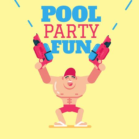 Plantilla de diseño de Pool Party Invitation with Man Shooting with Water Guns Animated Post